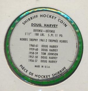 #60 Doug Harvey 1962-63 Metal Shirriff NHL Coin  Norris Trophy, New York Rangers  NHL Hockey