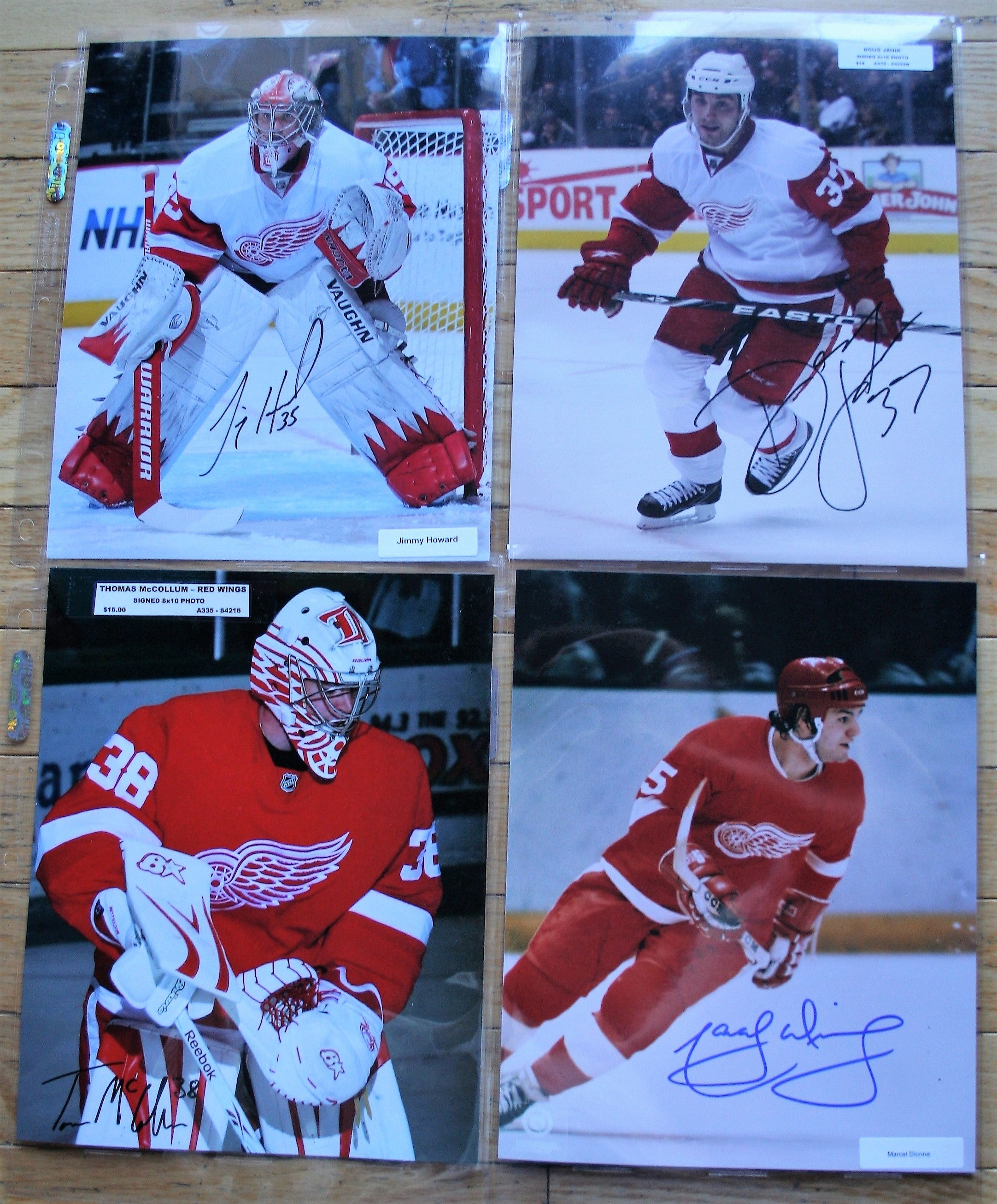 4 Signed Detroit RW 8x10 Photos  Howard, Janik, McCollum, Dionne  FREE SHIPPING  c/w COA  NHL Hockey Memorabilia
