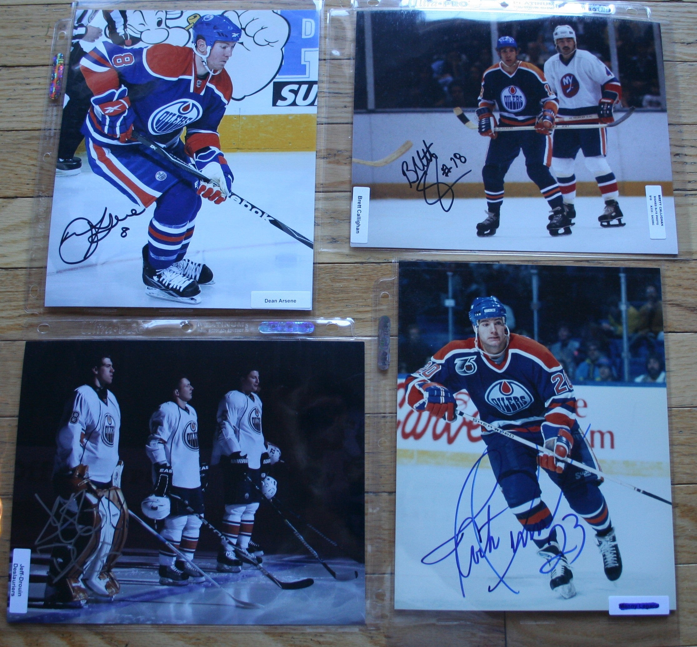 4 Signed Edmonton Oilers 8x10 Photos  Arsene, Callighan, Deslauriers, Gelinas   FREE SHIPPING  c/w COA  NHL Hockey Memorabilia
