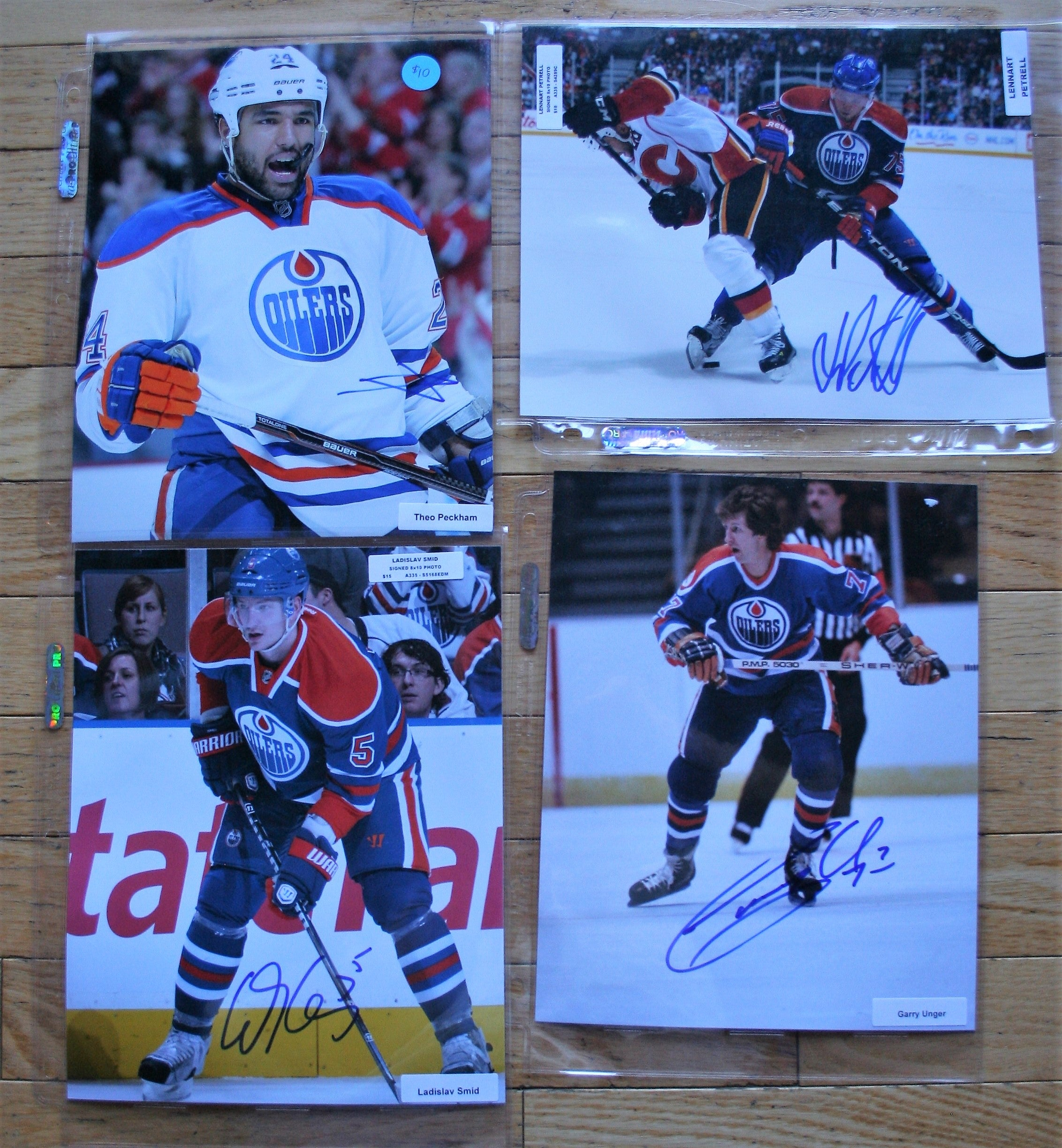 4 Signed Oilers NHL 8x10 Photos  Peckham, Petrell, Smid, Unger  FREE SHIPPING  c/w COA  NHL Hockey Memorabilia