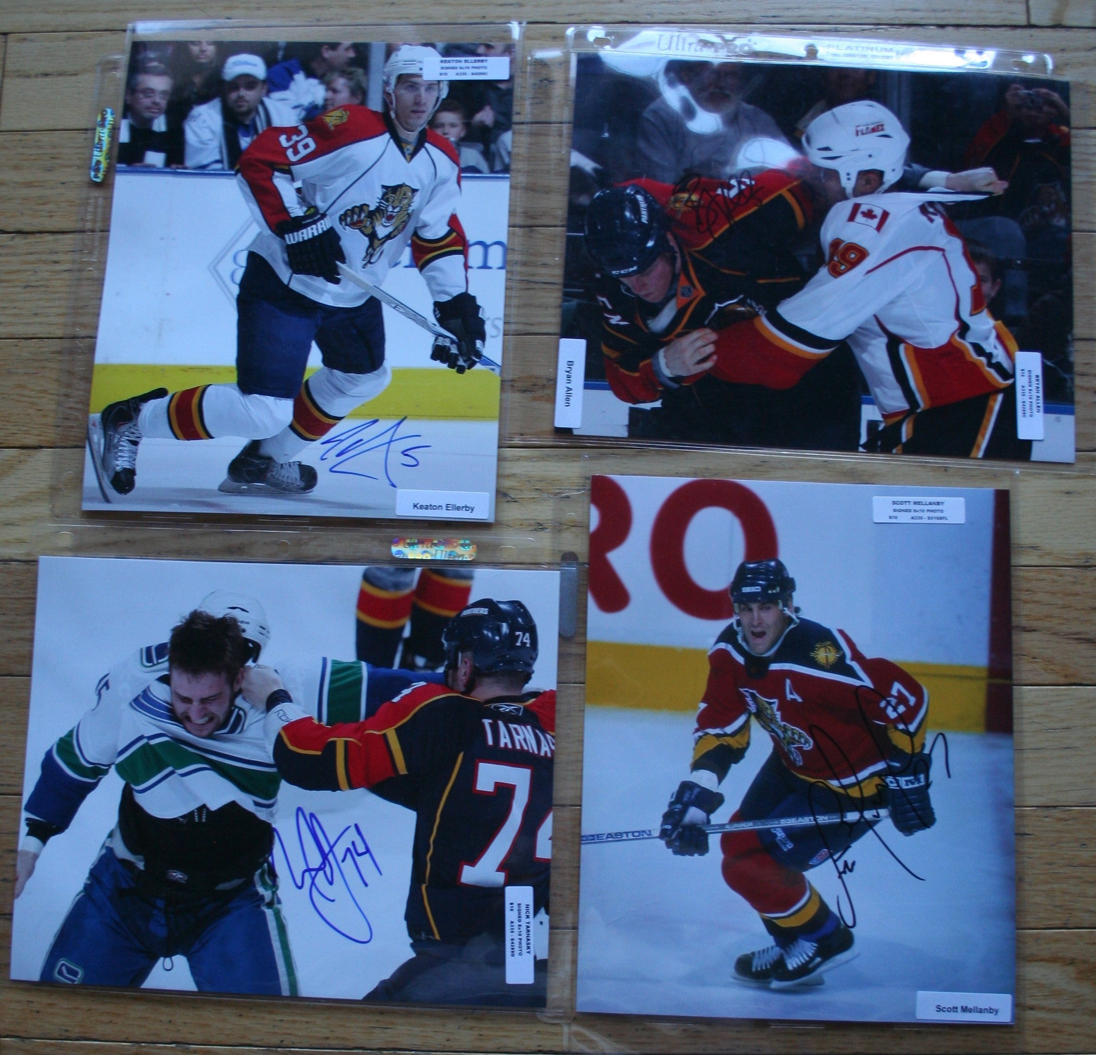 4 Signed Florida NHL 8x10 Photos  Ellerby, Allen, Tarnasky, Mellanby   FREE SHIPPING  c/w COA  NHL Hockey Memorabilia