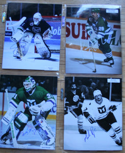 4 Signed Whalers NHL 8x10 Photos  Burke, Ladouceur, Reaugh, Rogers   FREE SHIPPING  c/w COA  NHL Hockey Memorabilia
