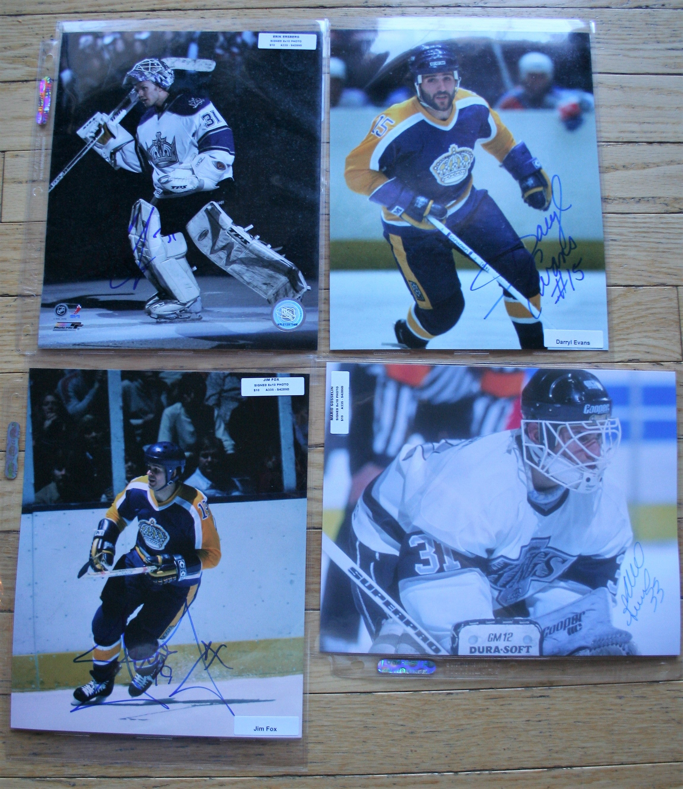 4 Signed LA Kings NHL 8x10 Photos  Ersberg, Evans, Fox, Gosselin   FREE SHIPPING  c/w COA  NHL Hockey Memorabilia