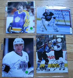 4 Signed LA Kings NHL 8x10 Photos  Simmer, Stauber, Taylor, Westgarth  FREE SHIPPING  c/w COA  NHL Hockey Memorabilia