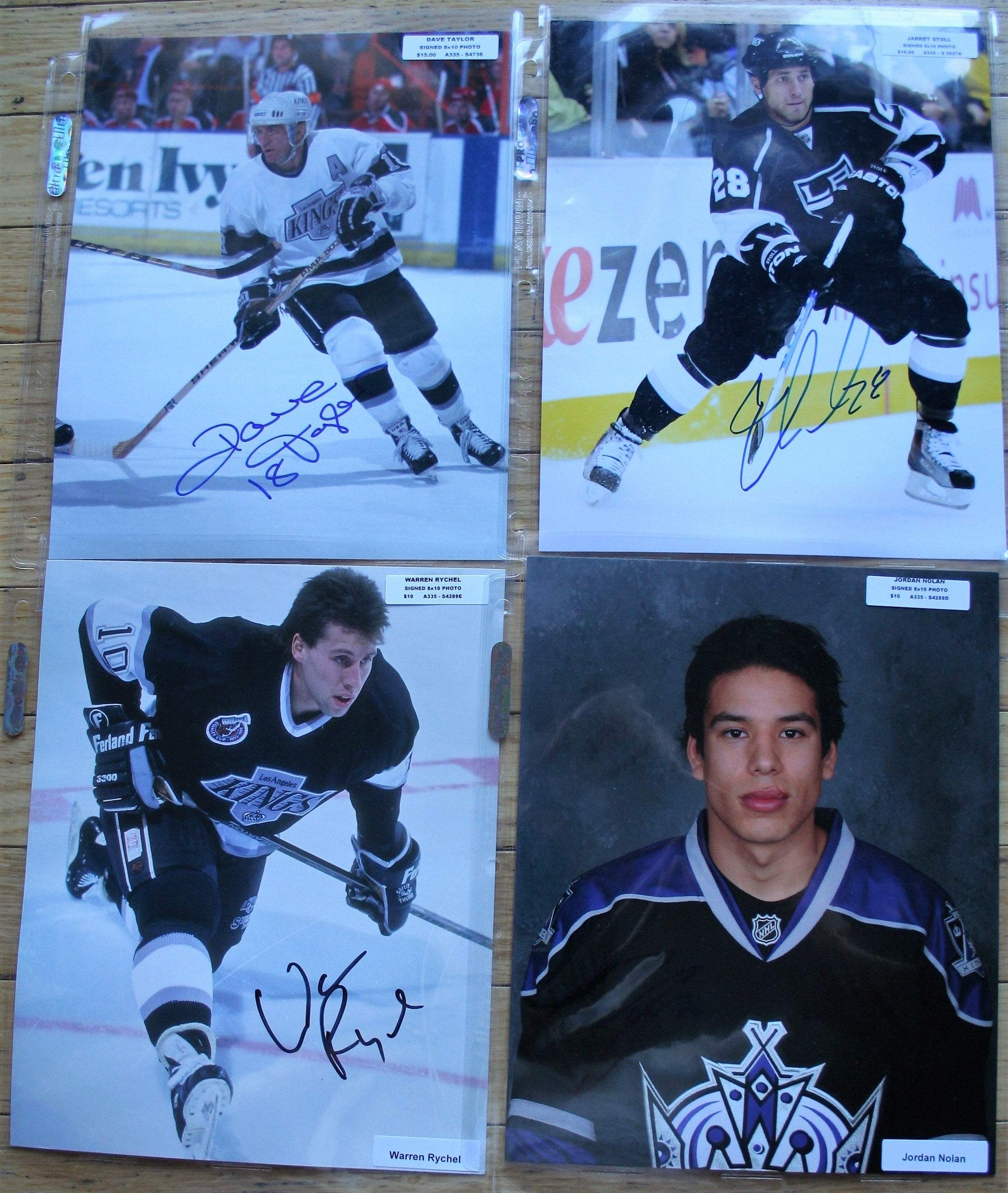 4 Signed LA Kings NHL 8x10 Photos  Taylor, Stoll, Rychel, Nolan   FREE SHIPPING  c/w COA  NHL Hockey Memorabilia