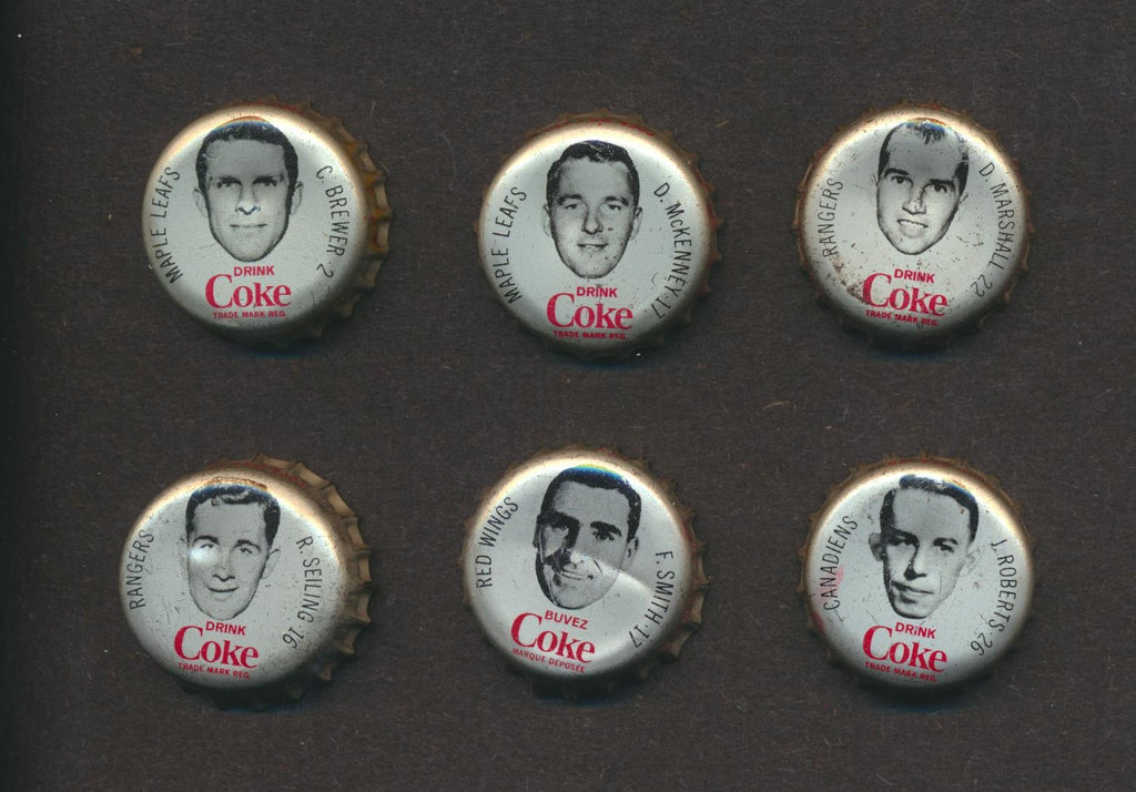 Lot of 6 NHL Hockey 1965-66 Coke Caps  Brewer, Leafs  Vintage Coca Cola NHL Hockey Memorabilia