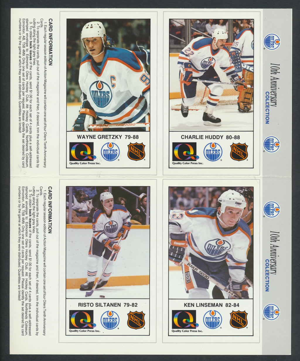 1988-89 Edmonton Oilers 10 Ann. Cards  Lot of 41 Pages (164 Cards)  Gretzky, Messier