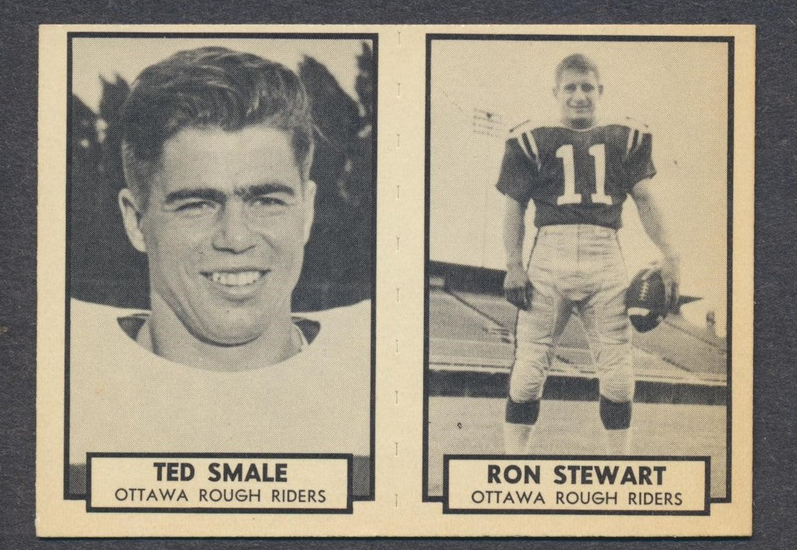 1962 Topps CFL Card Panel  Smale/ Stewart HOF - Ottawa Rough Riders  Vintage CFL Football Memorabilia