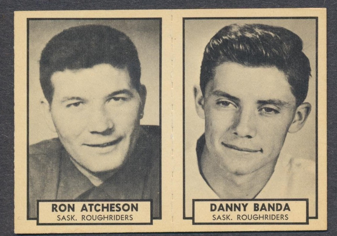 1962 Topps CFL Card Panel  Atchison HOF/ Banda - Saskatchewan Roughriders  Vintage CFL Football Memorabilia