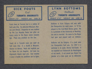 1962 Topps CFL Card Panel  Bottoms/ Fouts - Toronto Argonauts  Vintage CFL Football Memorabilia