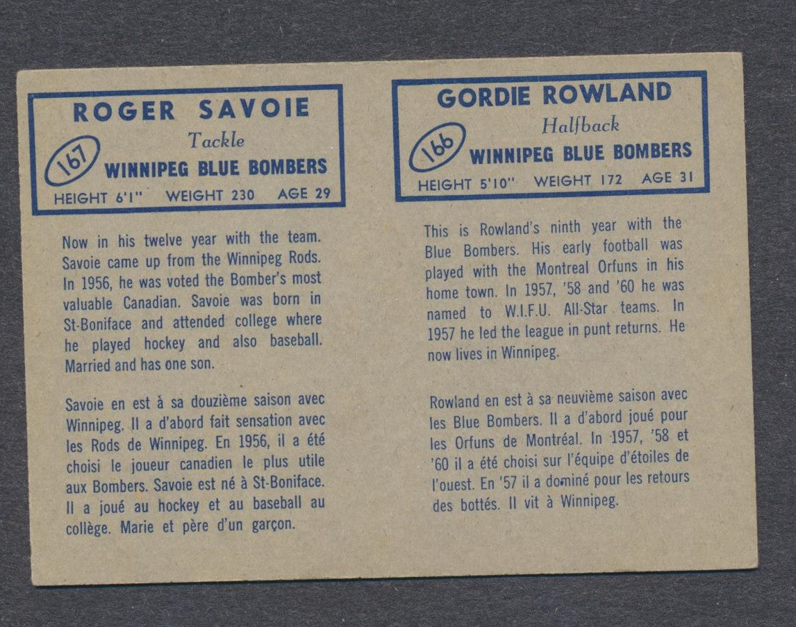 1962 Topps CFL Card Panel  Rowland/ Savoie - Winnipeg Blue Bombers  Vintage CFL Football Memorabilia