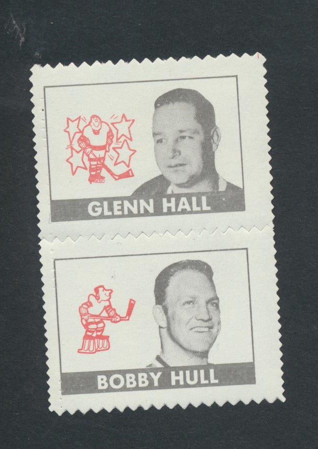 1969-70 OPC Stamp Inserts  Hall-Hull Stamp Pair  O-Pee-Chee  Vintage NHL Hockey Memorabilia