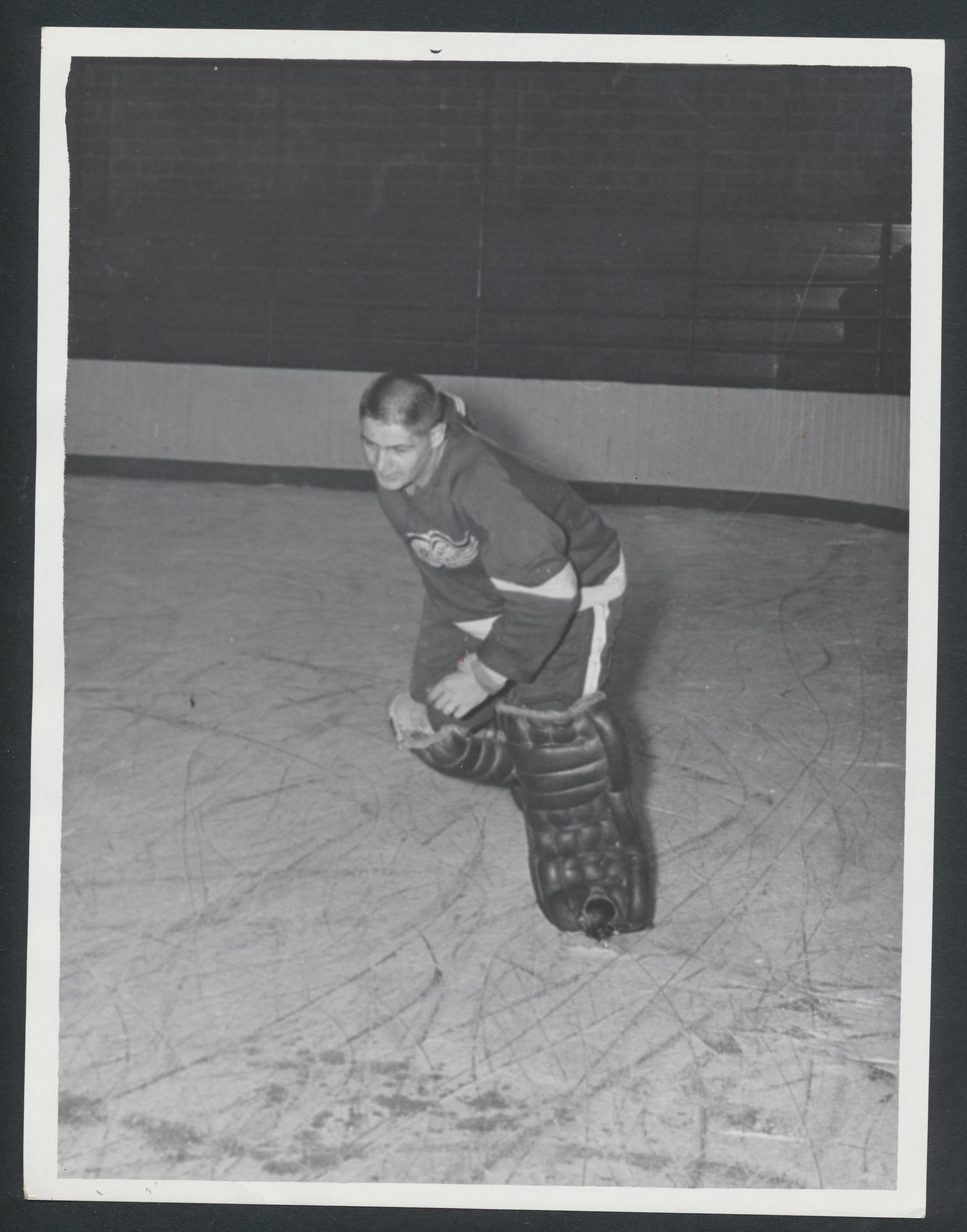 Original Terry Sawchuk -Detroit Red Wings Press Photo 1957 Vintage NHL Hockey