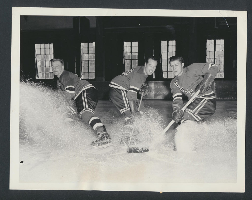Original New York Rangers Press Photo 1948 Eddie Kullman Edgar LaPrade T Leswick