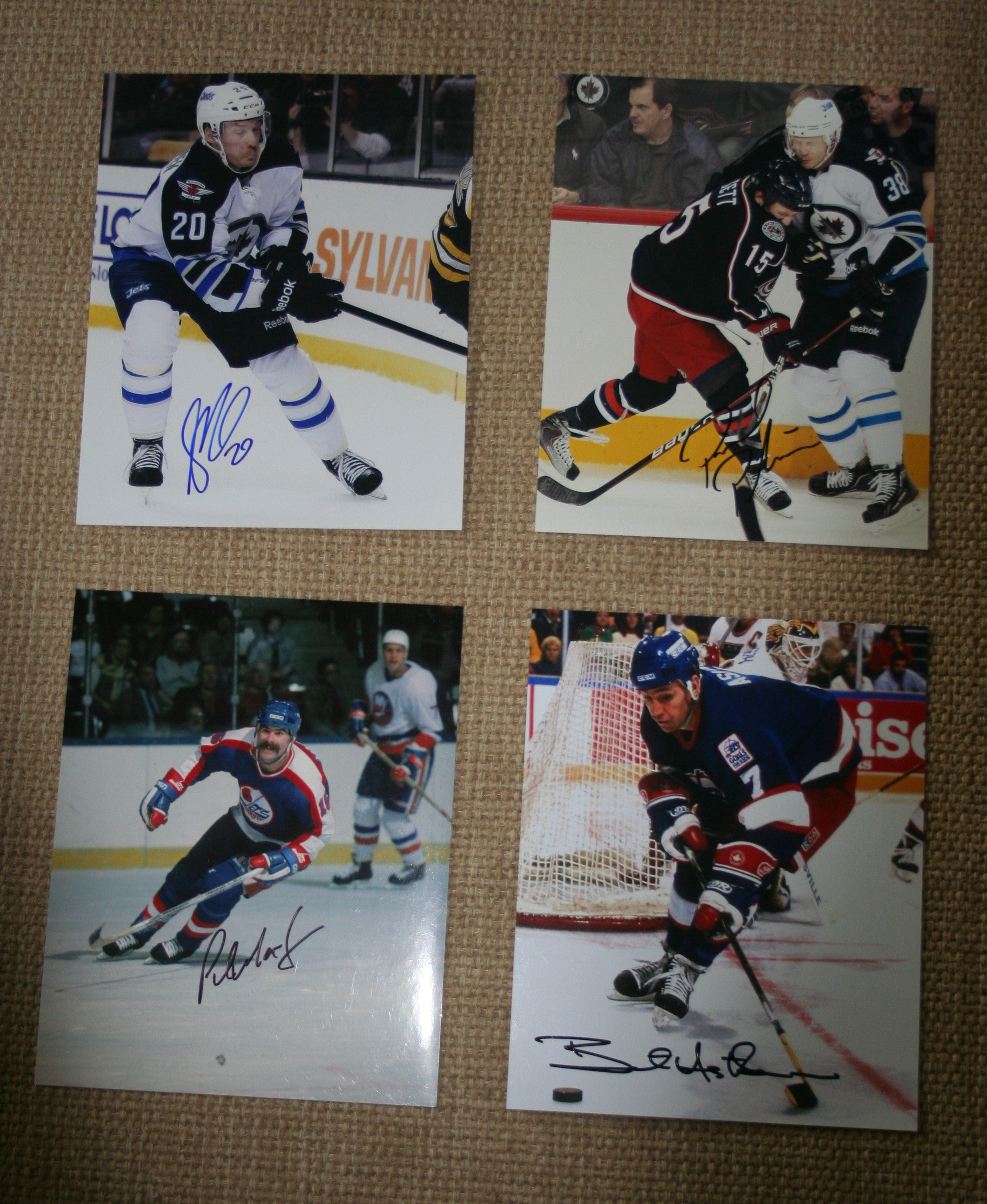 Lot of 4 Autographed Winnipeg Jets 8x10 Photos Miettinen Postma MacLean Ashton