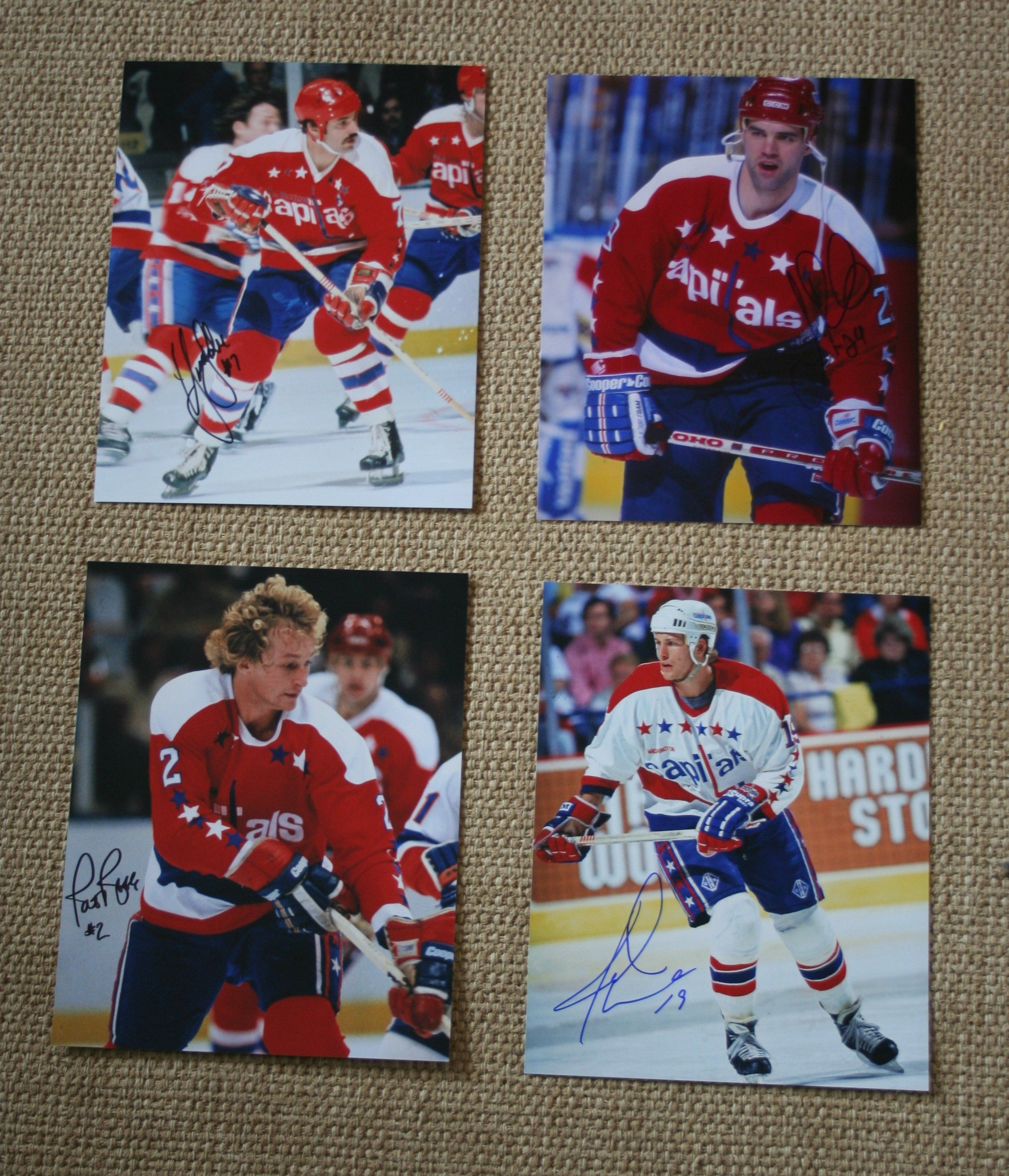 Lot of 4 Autographed Washington Capitals 8x10 Photos Labre, Reekie Ribble Druce