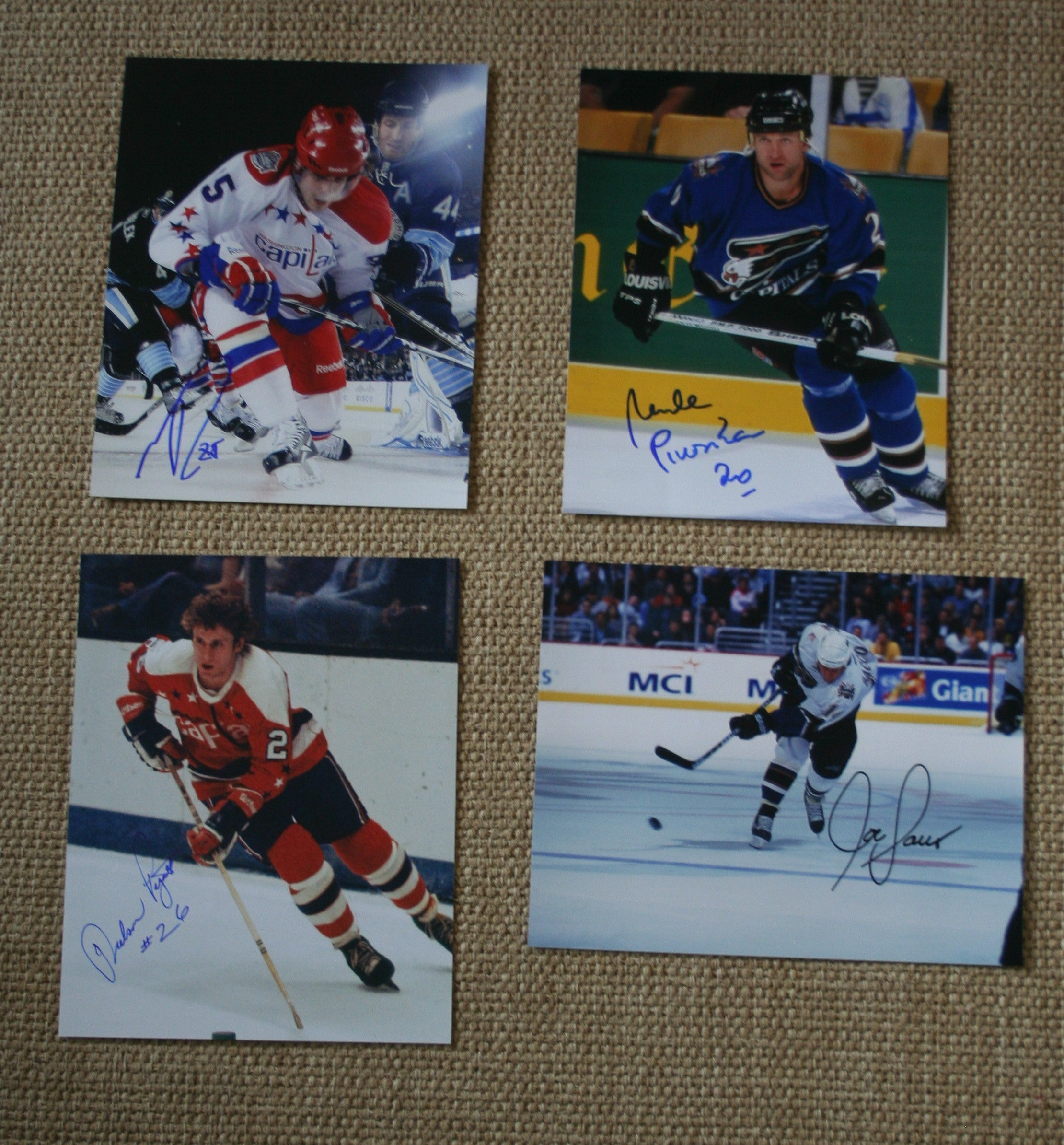 Lot of 4 Autographed Washington Capitals 8x10 Photos Perreault, Pivonka, Pyatt,