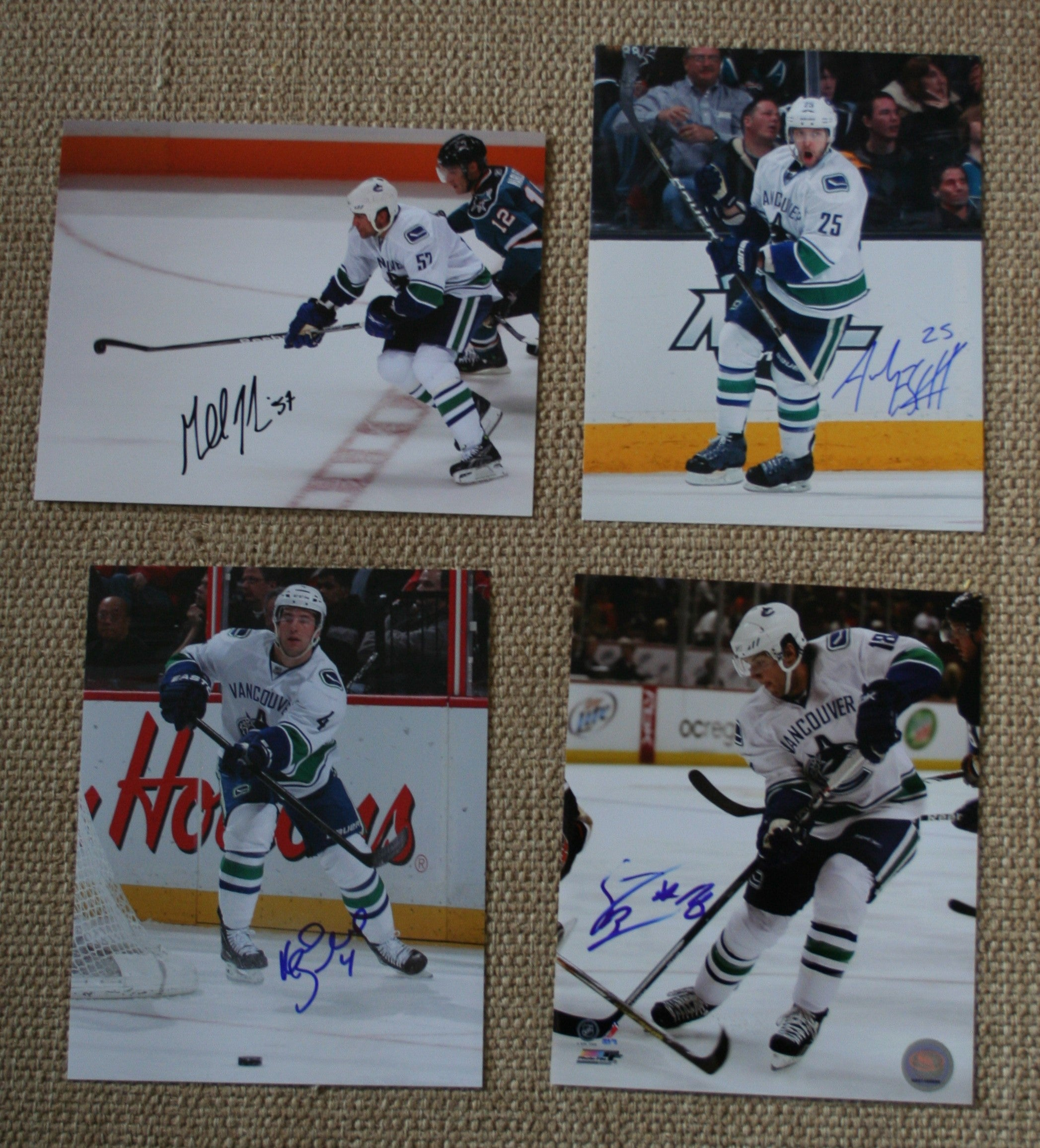 Lot of 4 Autographed Vancouver Canucks 8x10 Photos Desbiens, Ebbett, Ballard