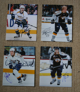 Lot of 4 Autographed Nashville Predators 8x10 Photos Hillen, Hornqvist, Jones