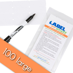 100 Large Blank Iron-On Labels and  Laundry Pen