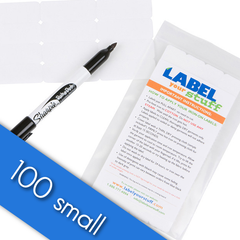 100 Small Blank Iron-On / Sew-In Labels & Laundry Pen