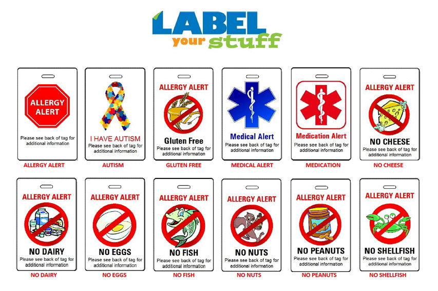 photo relating to Printable Backpack Tags referred to as Allergy Warn Bag Tags