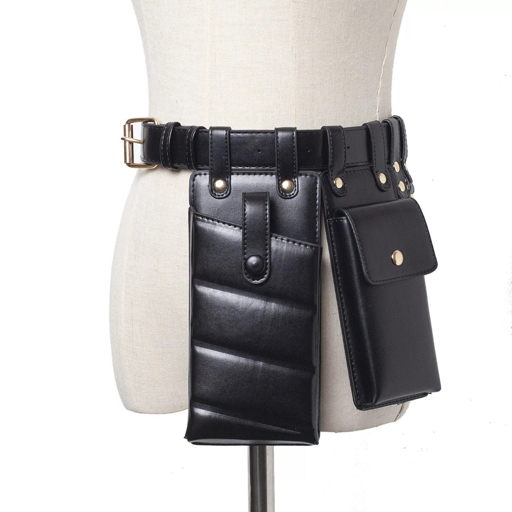 BLACK MULTIPLE POUCH BELT BACK
