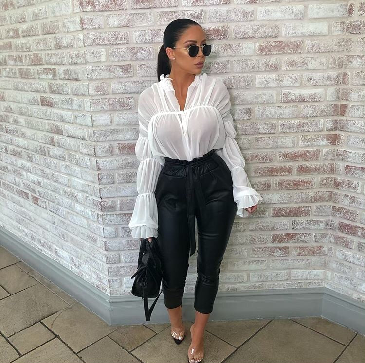 NICKY BALLOON SLEEVE CROP TIE FRONT BLOUSE