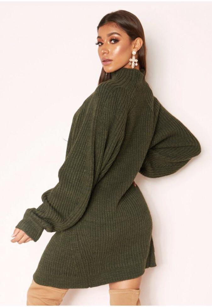 LEYAH KHAKI CHUNKY KNIT JUMPER DRESS J4