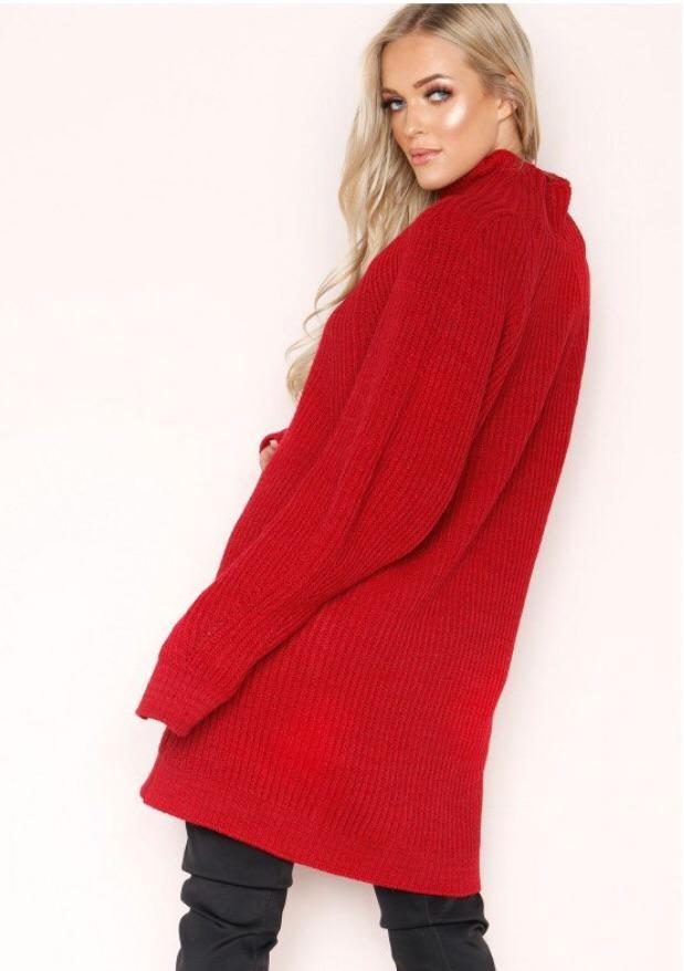 LEYAH RED CHUNKY KNIT JUMPER DRESS J4