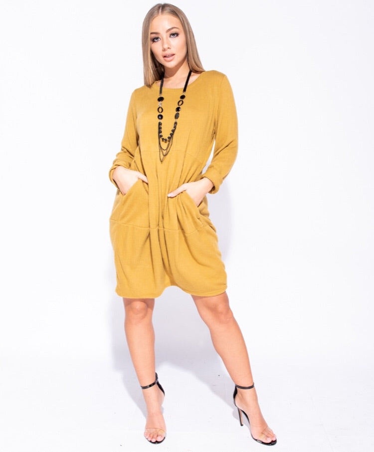 LISA KNIT JUMPER DRESS J5 MUSTARD