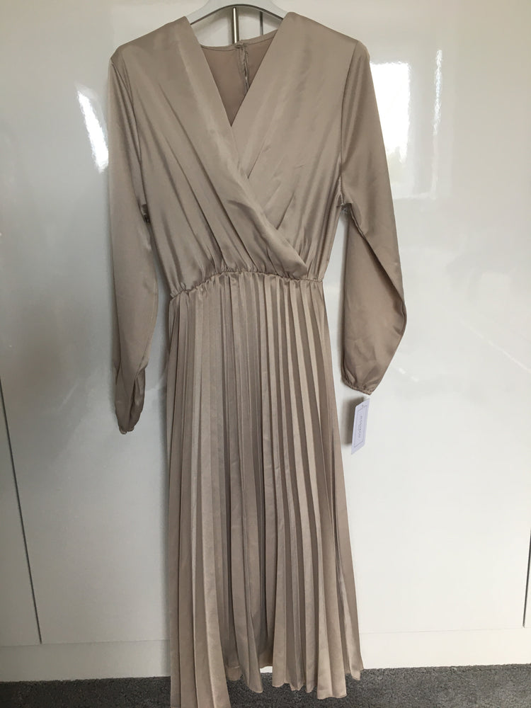BEIGE LYZIE SATIN PLEATED DRESS