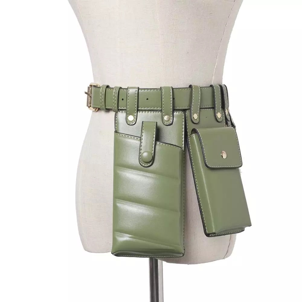 KHAKI  MULTIPLE POUCH BELT BACK