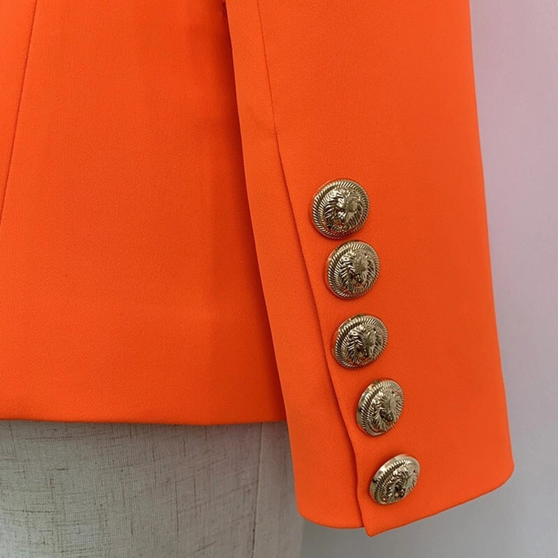 ORANGE WITH GOLD BUTTON BLAZER