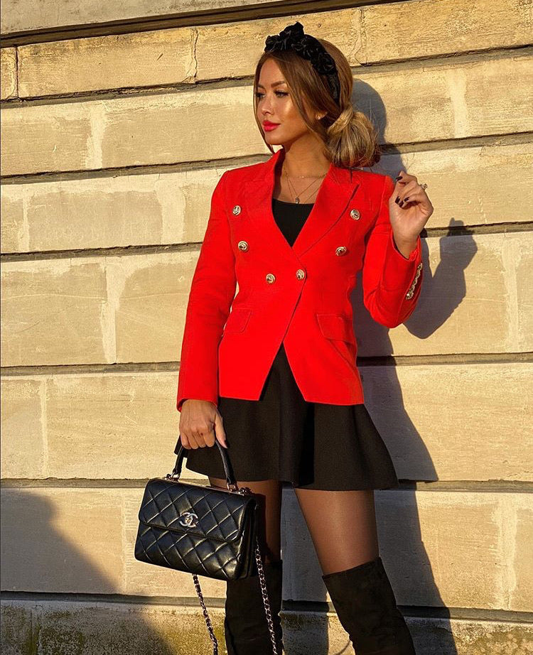 RED WITH GOLD BUTTON BLAZER