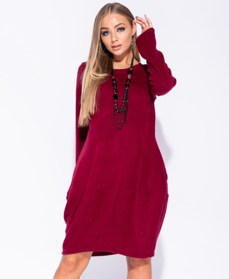 LISA KNIT JUMPER DRESS J5 RED WINE