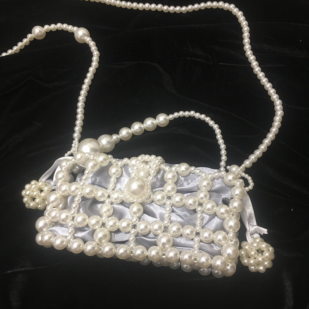 PATRA PEARL EMBELLISHED BAG WITH GREY SILKY BAG