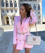 PINK SATIN COLLAR BLAZER DRESS WITH GOLD BUTTONS
