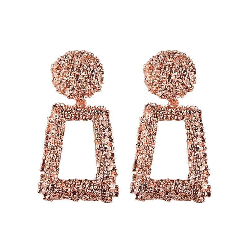 ANTALYA RECTANGULAR ROSE GOLD DROP EARRINGS