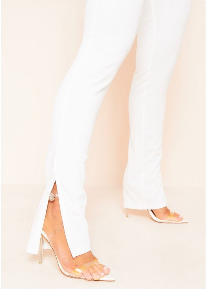 STELLA WHITE SPLIT SIDE TROUSERS