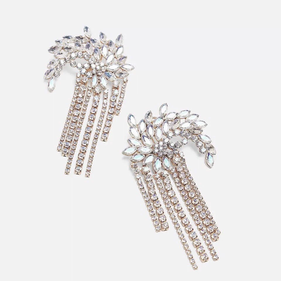 DALMATIA HALF MOON CRYSTAL DROP  EARRINGS