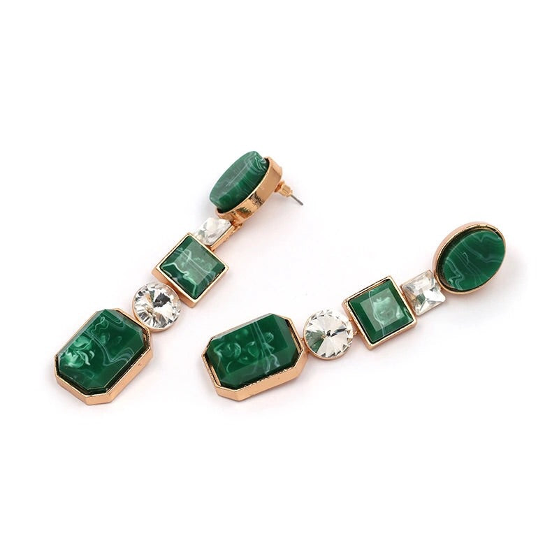 CAPRAiA EMERALD GREEN ROUND DROP EARRINGS