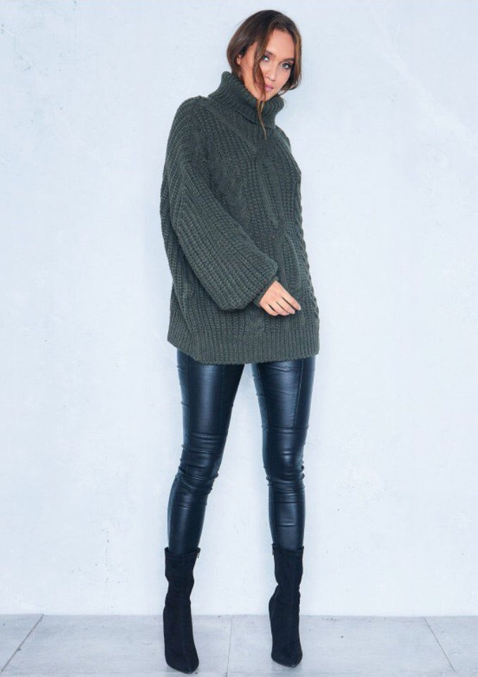 REBECCA KHAKI CABLE KNIT ROLL NECK OVERSIZE JUMPER J1