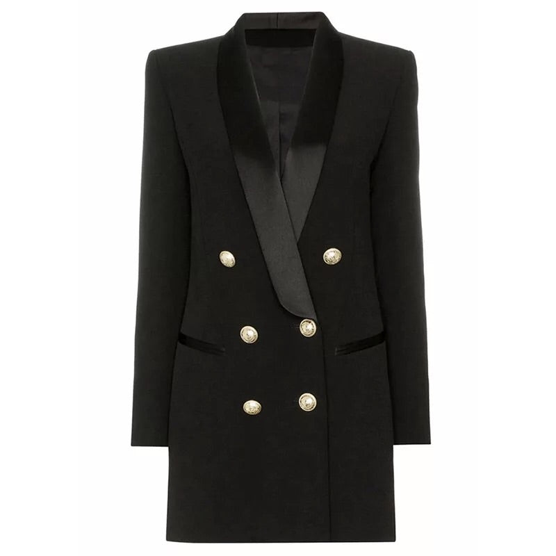 BLACK SATIN COLLAR BLAZER DRESS WITH GOLD BUTTONS