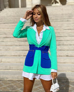 SHANA LIMITED GREEN & BLUE BELTED BLAZER WITH LARGE POCKETS