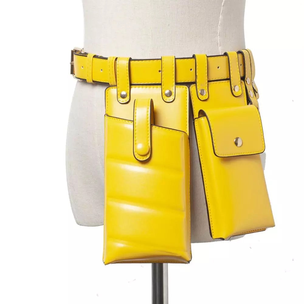 YELLOW MULTIPLE POUCH BELT BACK