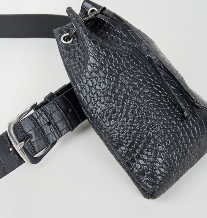 Black Faux Croc Duffle Purse Belt