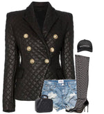 QUILTED BLACK LEATHER BUTTONS BLAZER CHANEL STYLE