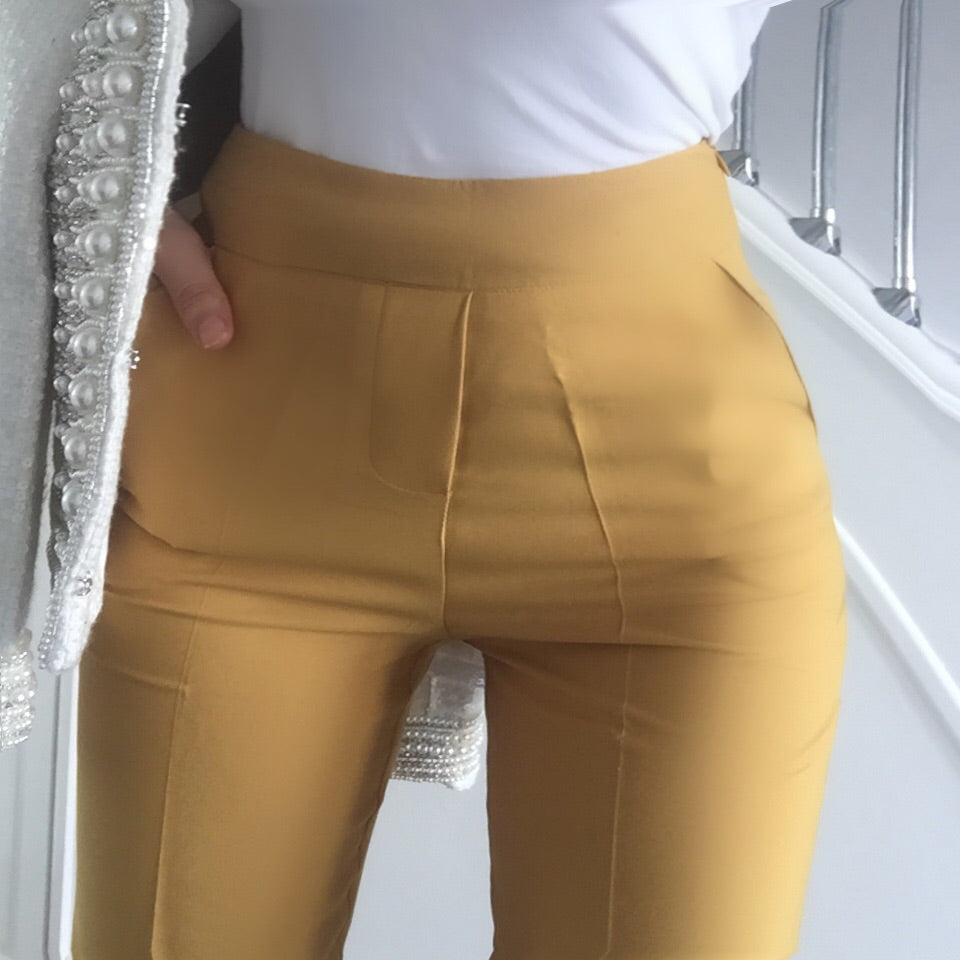 KIRA MUSTARD WIDE LEG TROUSERS