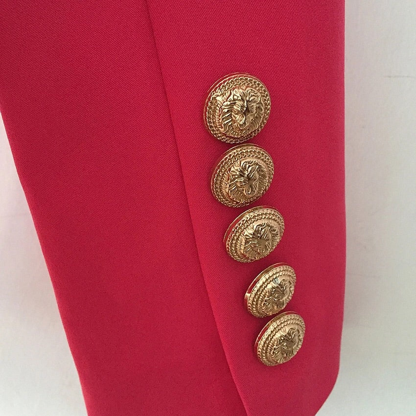 WATERMELON BLAZER WITH GOLD BUTTONS